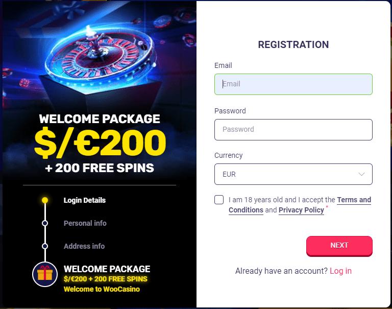 Window of registration in Woo Casino