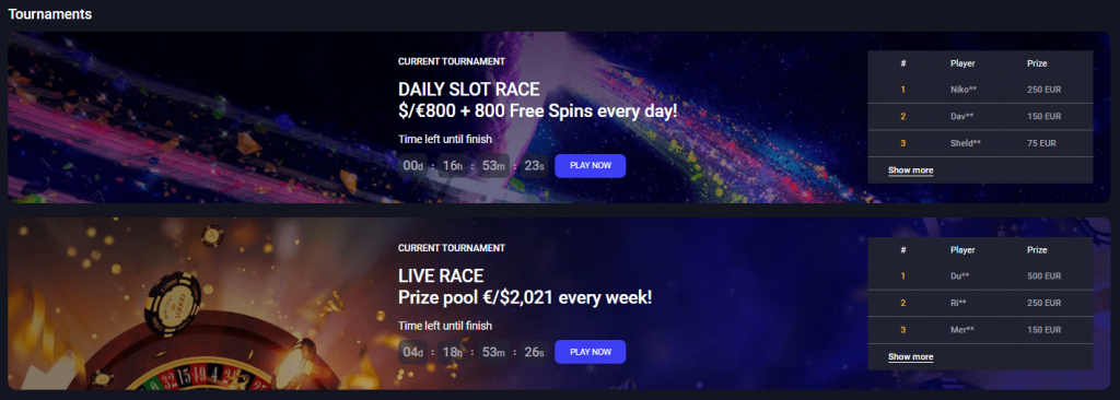 Woo casino two active tournaments